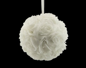 "9"" White Silk Rose Flower Pomander Kissing Balls Wedding Pew Decoration Baby Shower Party Decor Valentine's Day Valentines Day Ideas"