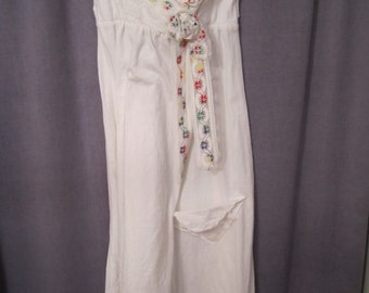 SALE-Upcycled white jersey sundress country shabby chic tattered vtg lace trimmed free form rose Hot Summer Nights/Coachelle/Folk Festival