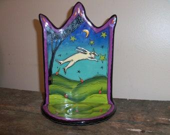Handmade Terri Kern Jumping Rabbit Colorful Ceramic Candle Holder Whimsical