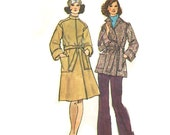 Simplicity 6633 Front Wrap Coat Stand Up Collar Pockets Tie Belt Carriers Size 14 Bust 36 Vintage 70s Simple To Sew Pattern Uncut