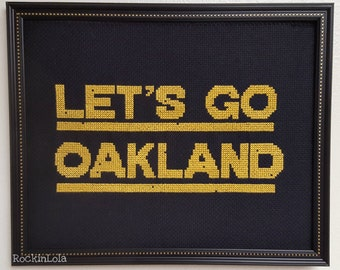 LET'S GO OAKLAND scoreboard cross stitch - oakland athletics framed cross stitch - handmade by RockinLola