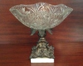 Monarch Crystal glass compote pedestal bowl ornate cast metal stand marble base centerpiece Hollywood Regency Glam home decor