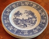 "Homer Laughlin ""Shakespeare Country"" Blue Transferware - Set of Four Dinner Plates"