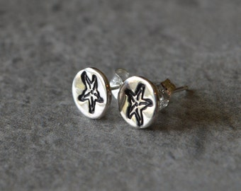 Starfish 3 Post Earrings Reclaimed Sterling Silver Hand Stamped Sterling Silver Posts Eco Friendly Nautical Marine Life Sea Life Jewelry