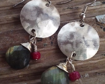 labradorite and ruby earrings; sterling silver; sterling silver disks; gemstone earrings