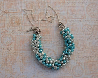 Blue and White Pearl Cluster Necklace/Bracelet 2 in 1