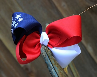 American Flag Bow - Fourth of Jul Bow - July Fourth Bow - Patriotic Bow
