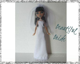 Handmade Monster High Doll Clothes - Wedding Gown Veil and Jewelry - Custom Bridal Fashion - by DOLLS4EMMA