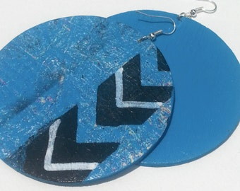 Stonewashed Down Abstract Earrings, Drop, Mixed Media, Blue, Black, White