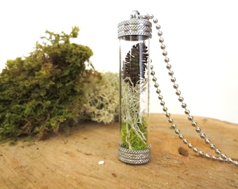Whispers in the Forest...Tiny Live Terrarium Pendant Lichen Moss Magic Little Terrarium Necklace