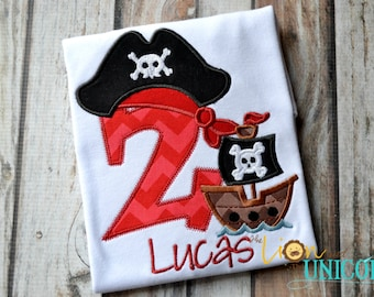 Pirate Birthday Shirt Number Can Be Changed - Add A Name for FREE