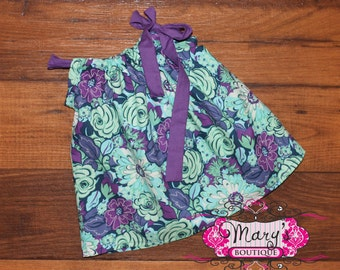6 months Purple and Teal Pillowcase Dress