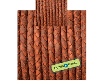 CW04134 - 0.40 meter x 4.00mm Vintage effect  Braided Leather Cord