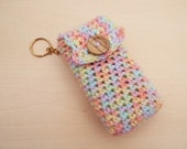 Hand crochet pocket tissue cover keyring - pastel colour mix with wooden button teachers gift stocking filler