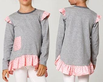 Girls Top Pattern pdf, Stretch Pattern, Girls Sewing Pattern, Girls Clothing Pattern, Girls Sweater Pattern, URSULA