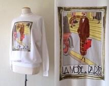 white sweatshirt vintage / novelty sweatshirt / 80s white sweatshirt / oversized t shirt / 80s clothing