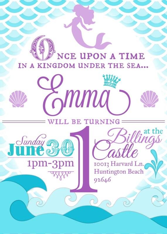 mermaid birthday party invitation little mermaid birthday, Birthday invitations