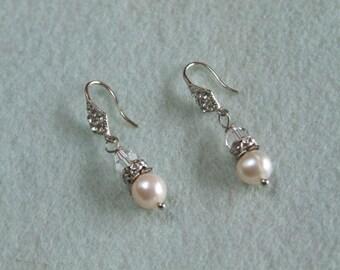 Freshwater Pearl and Rhinestone crystal Earrings