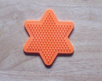 Perler Bead Orange Star Pegboard, Ironing Paper, Instructions, Craft Supply, Church Craft Supply, Kids Crafts