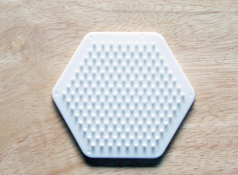perler bead white hexagon pegboard ironing paper