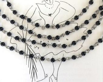 Black Rosary Chain, Black Bead Chain, Bead Chain, 4mm, 6Ft