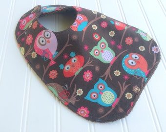 Girl Baby Bib - Owl Baby Bib - Woodland Animals Bib - Infant Bib - Modern Baby Girl Bib - New Baby Gift Idea - Snap Bib - Made In Canada