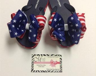 4th of July Flip Flops Boutique Flip Flops Patriotic Flip Flops ***FREE SHIPPING***