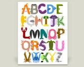 "Under the Sea Ocean Alphabet Poster Print, Children's and Baby Nursery Artwork, 18x24"""