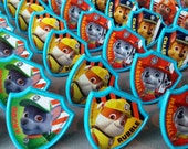 24 Nickelodeon's PAW PATROL cupcake topper rings birthday party favors Rocky Chase Zuma Skye Rubble Marshall Everest puppy Yelp for Help!