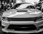 Hellcat SRT, Photography, fine art Photography, Black and white, wall art, home décor, car photography, vintage, truck, auto, gift, print