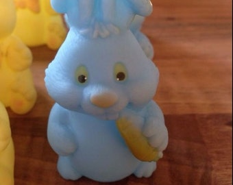 Vintage Rubber Blue Rabbit Baby Toy