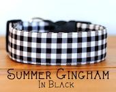 Modern Summery Gingham Dog Collar in Black