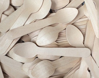 25 Wood Taster Spoons  - Wooden Spoon - Eco Friendly Bat Bar Mitzvah Wedding Party Supplies