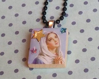 Catholic Necklace, Religon, Mother Mary Necklace, Scrabble Tile Pendant Necklace, Scrabble Jewelry, Catholic Tile Art, Rockabilly Jewelry