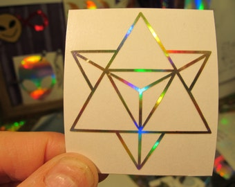 "Merkaba Sticker.  Prismatic Rainbow Gold Or Silver.  2"" Size"