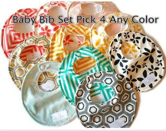 Baby Bibs Pick 4 of Your Choice Baby Bibs - Drool Bib - Newborn Bib - Baby Shower Gift - New Mom Gift SKU: Combined