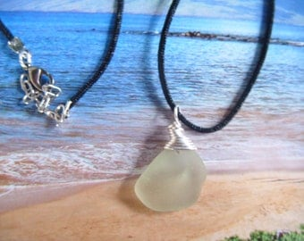 Genuine Maui Sea Glass Wire Wrapped Pendant on Black Cord