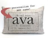 "baby gift, baby pillow, baby shower gift, christmas gift, name definition pillow, personalized pillow, birthday pillow - ""The Ava"""