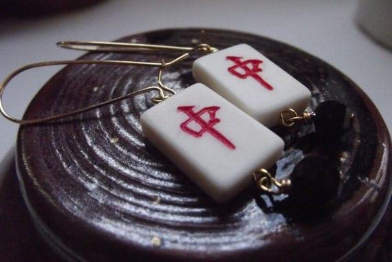 Red Dragon Tile : Red dragon mahjong tile earrings by katmos on etsy