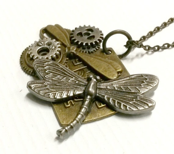 Steampunk Dragonfly necklace mixed metal gearsHandmade Gift