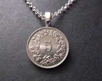 """Switzerland """"5"""" Coin Necklace """"Confoederatio Helvetica, the Latin name of the Swiss Confederation 1962 Coin Pendant with Petite Rolo Chain"""
