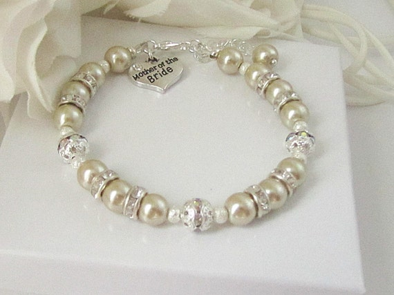 Mother Of The Groom Gift: Champagne Pearl Bracelet Mother Of The Bride Gift Pearl