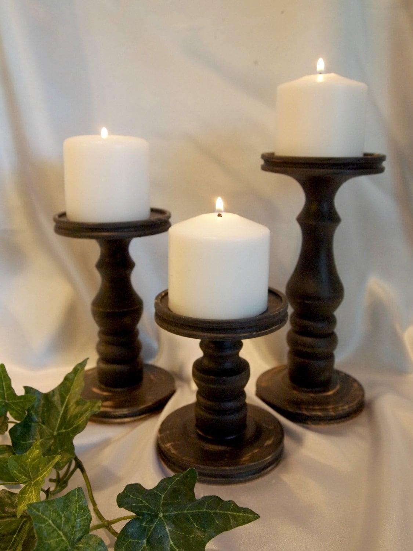 Primitive Black Pillar Candle Holder Set Of 3