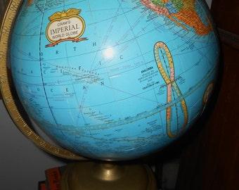 "Vintage 12"" Crams Imperial World Globe School Globe On a Metal base"