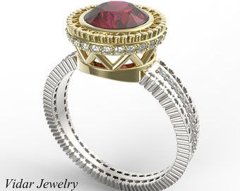 Ruby Engagement Ring,Unique Engagement Ring,Two Tone Engagement Ring,Vintage Engagement Ring,Diamonds,14K Gold,Engagement Ring