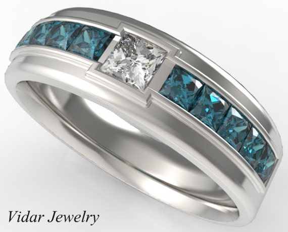 Mens wedding bandblue diamonds wedding ring for a menunique for Mens wedding ring with blue diamonds