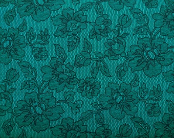 SALE One Yard Teal and Black Flower Lace Print / Zelda Teal - Michael Miller Fabric