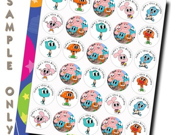 60 ct AMAZING WORLD of Gumball personalized stickres birthday party favor tags labels cupcake toppers decoration