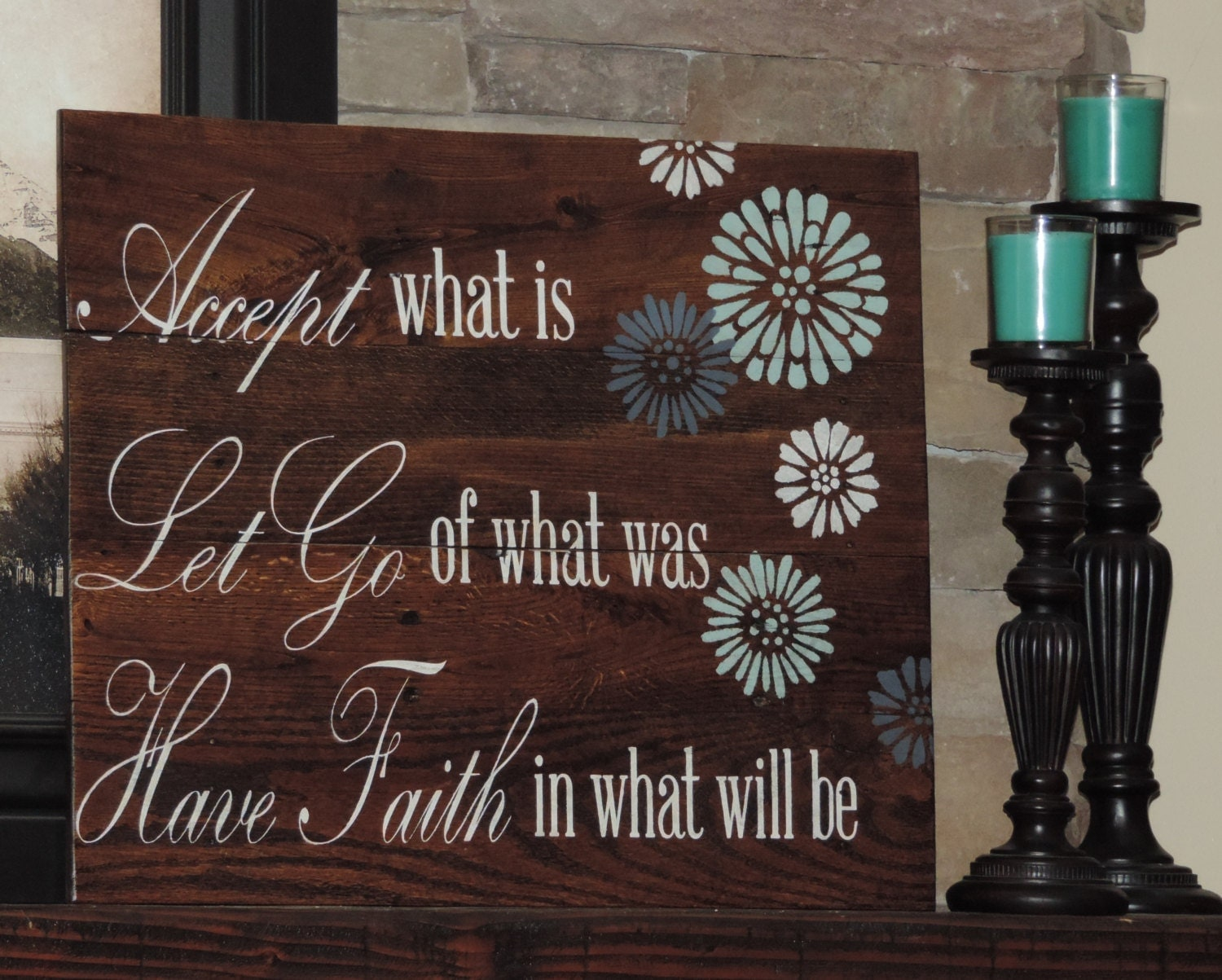 Wooden Wall Decor With Quotes : Large reclaim wood sign with inspirational quote on pallet