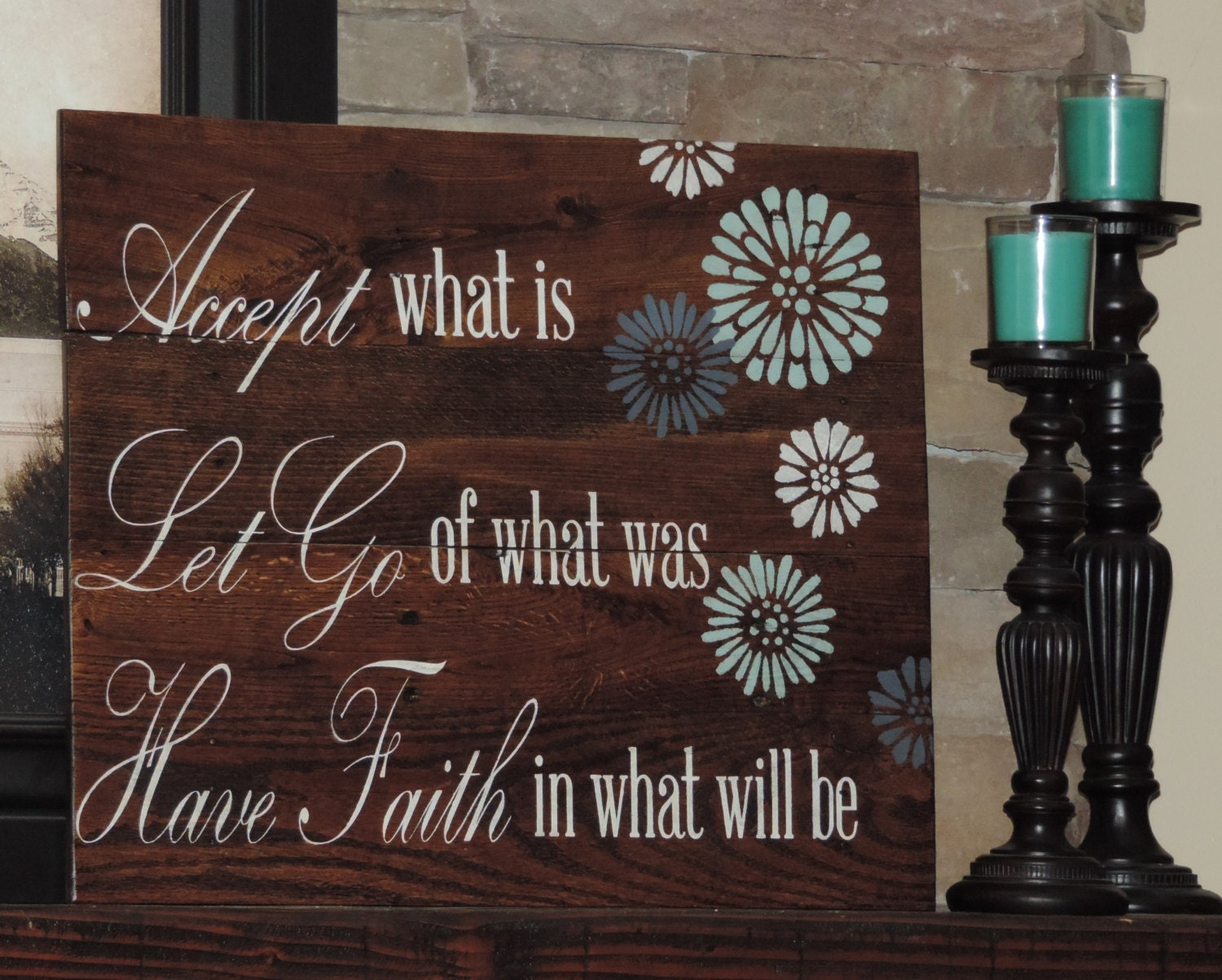 Wooden Wall Art Inspirational Quotes : Large reclaim wood sign with inspirational quote on pallet